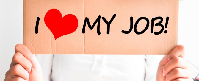 sign saying I love my job