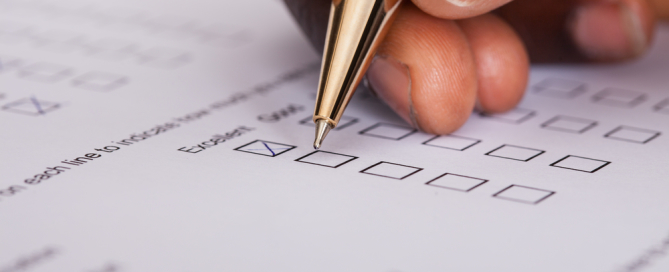 completing a customer service survey